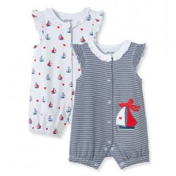 Infant Girls Sailboat 2-Pack Rompers