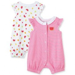 Infant Girls Red Watermelon 2-Pack Rompers