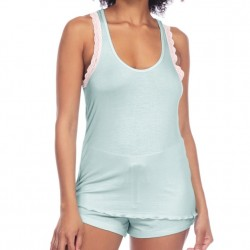 Honeydew Lace Racerback Tank & Short Set in Chilled Mint