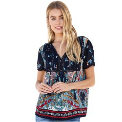 Short Sleeve Tie Neck with Navy Print Yoke and Sleeves in Navy Multi