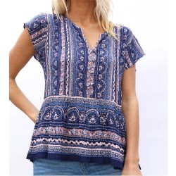Cap Sleeve Floral Stripe Notch Neck Top with Flounce Hem in Blue and Pink Multi