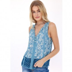 Sleeveless Notch Neck Crochet Lace Detail Top with Border Print in Denim Tonal
