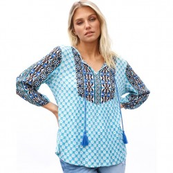 3/4 Sleeve Peasant Top with Border Detail Yoke and Sleeve in Blue Tonal
