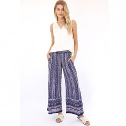 Floral Stripe Print Palazzo Pant with Border Hem in Blue PInk Multi