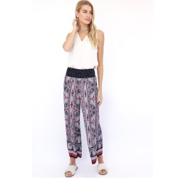 Vertical Paisley Print Palazzo Pant with Border Hem in Navy Red Multi