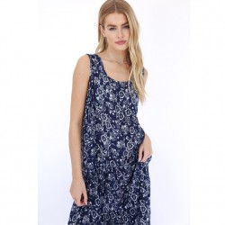 Floral Sleeveless Dress with Flounce Hem in Navy White