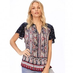 Short Sleeve Tie Neck Peasant Top with Paisley Border in Navy Red Multi